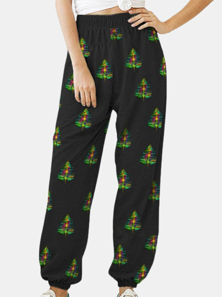 Christmas Tree Prints Elastic Wasit Plus Size Pants for Women, newchic  - buy with discount