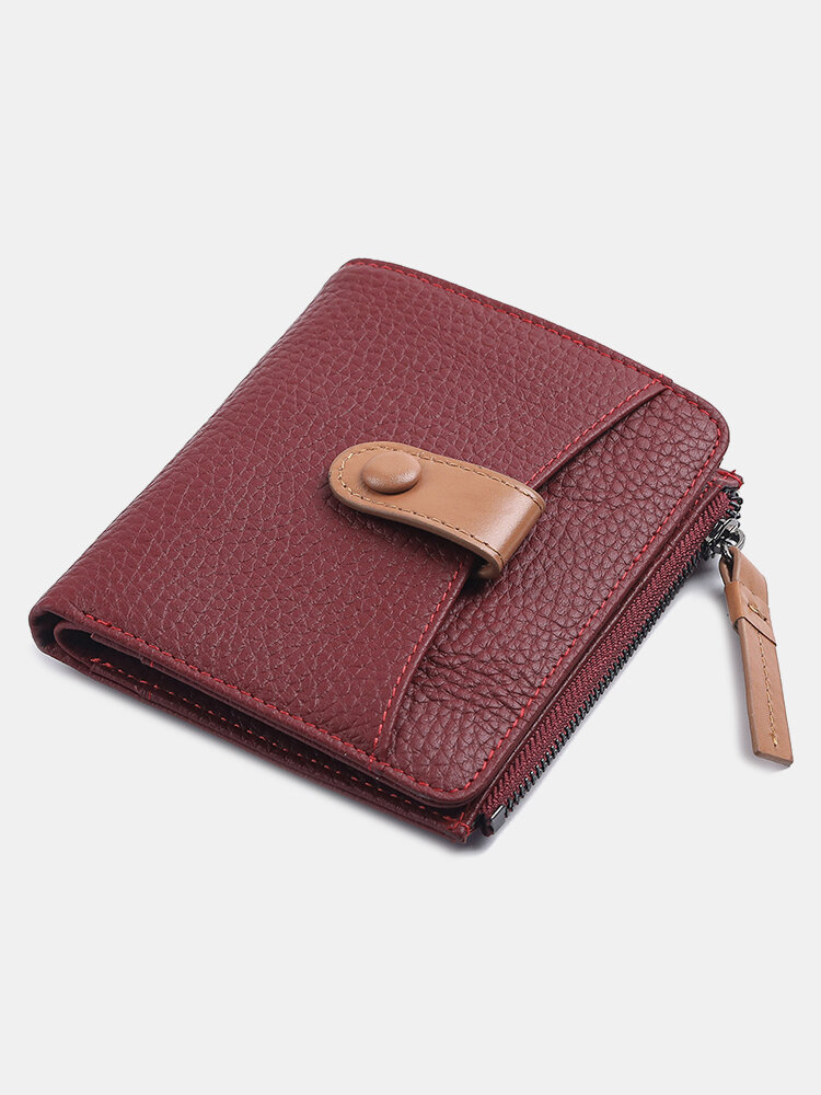 Women Genuine Leather Cow Leather Multifunction Coin Purse Money Clip Short Wallet