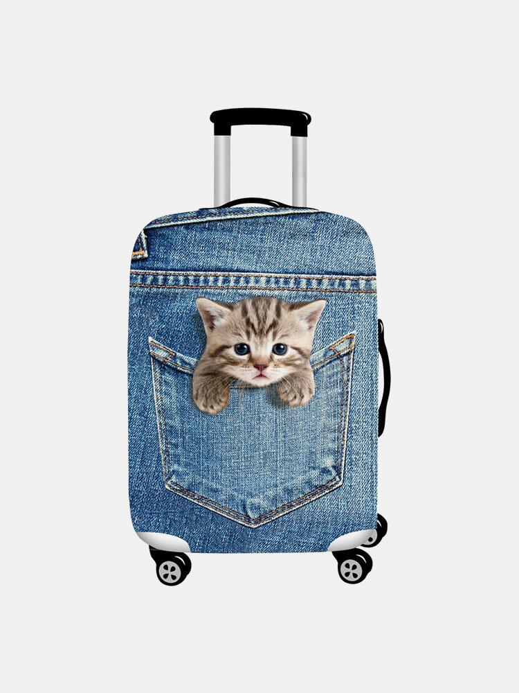 Custodia protettiva per bagagli da viaggio resistente all'usura con stampa gatto