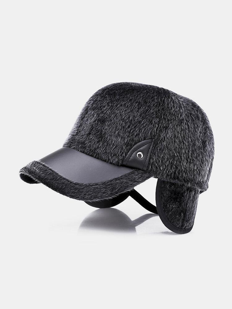 Men Winter Warm Velvet Leather Hat Keep Ear Warm Vintage Outdoor Sports Snow Baseball Cap