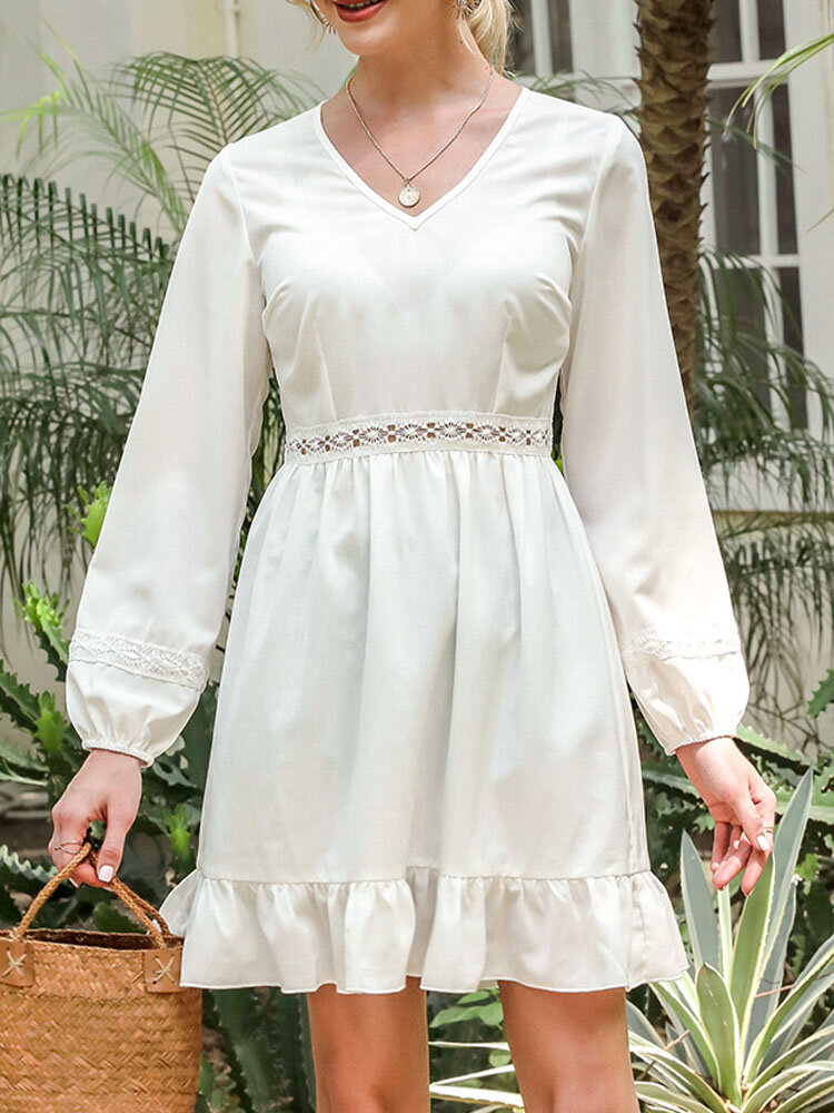 Long Sleeve Stitch V-neck Solid Casual Dress for Women