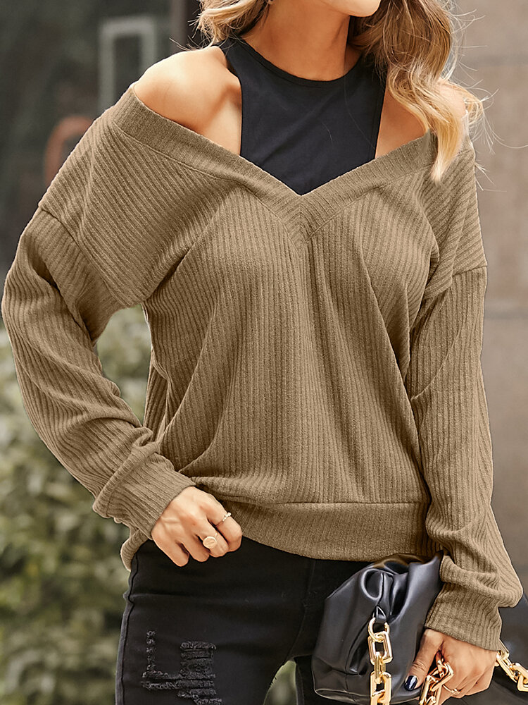 Women Solid Color Patchwork Off Shoulder Knitted Sweater
