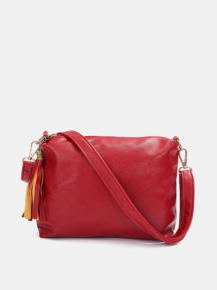 Women Casual Crossbody Bag Tassel Messenger Bag Leisure Zipper Shoulder Bag