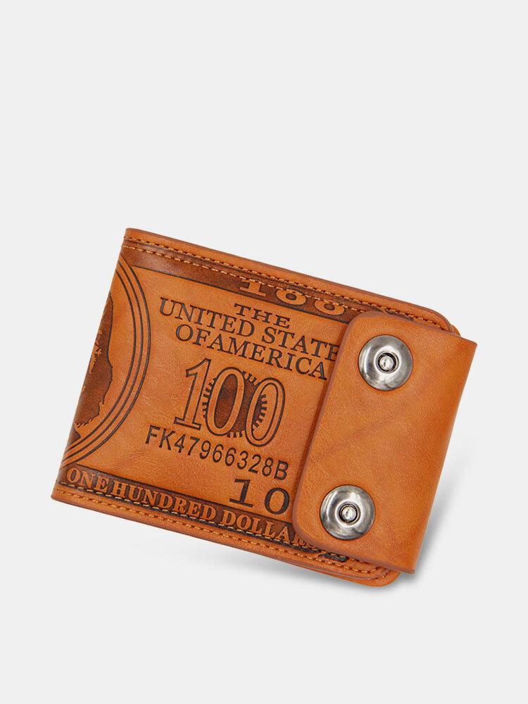 Hombres PU Leather Dollar Patrón Bifold Sort Multi-Card Slot Tarjetero Monedero Monedero Monedero
