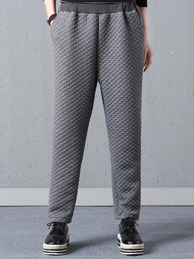Casual Solid Color Elastic Waist Plus Size Pants with Pockets
