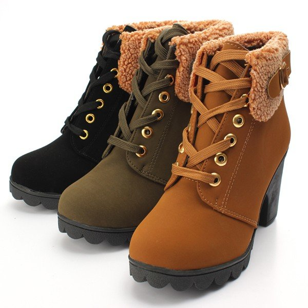 Chunky Fur Lace Up Ankle Boots