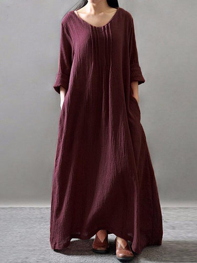 プリーツソリッドカラー長袖Plusサイズカジュアルドレス