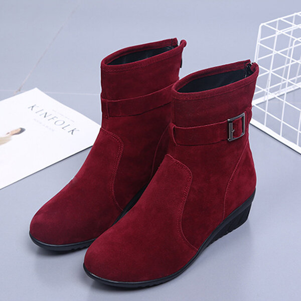 Buckle Decoration Suede Casual Ankle Boots