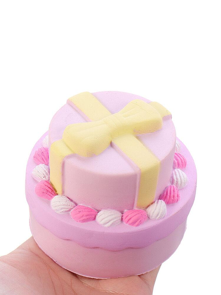 Squishy en forma de tarta doble nudo lazo con regalo de colección de envases