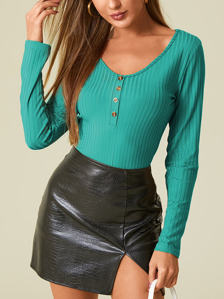 Solid Color V-neck Long Sleeve Casual T-Shirt For Women