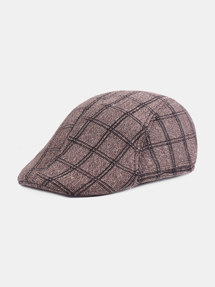 Mens Winter Warm Beret Caps Casual Gird Cotton British Retro Newsboy Hats