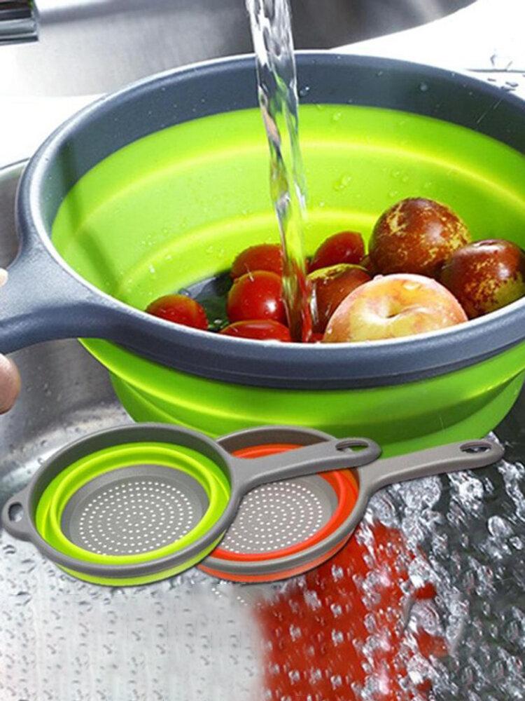 Long Handle Round Drain Fruit Baskets Foldable Silicone Colander Fruit Vegetable Washing Basket