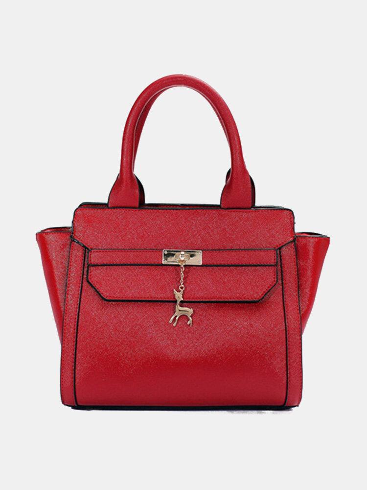 Women Leather Deer Pendant  Crossbody Bag