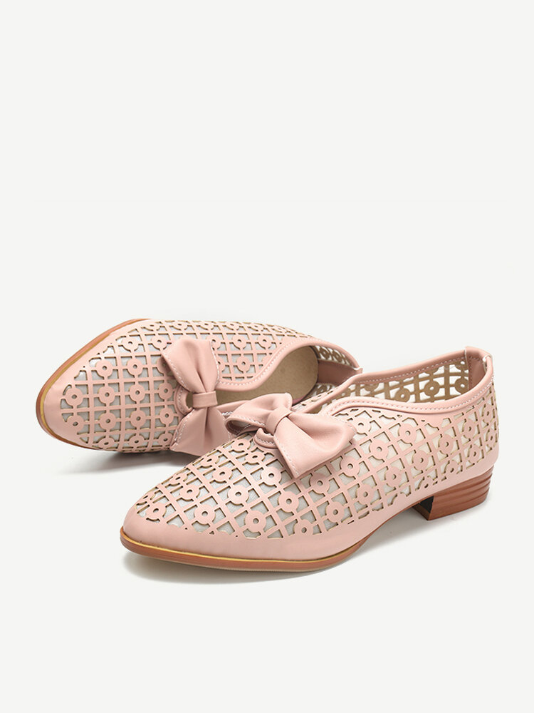 Plus Size Casual Butterfly Knot Hollow White Shoes for Women
