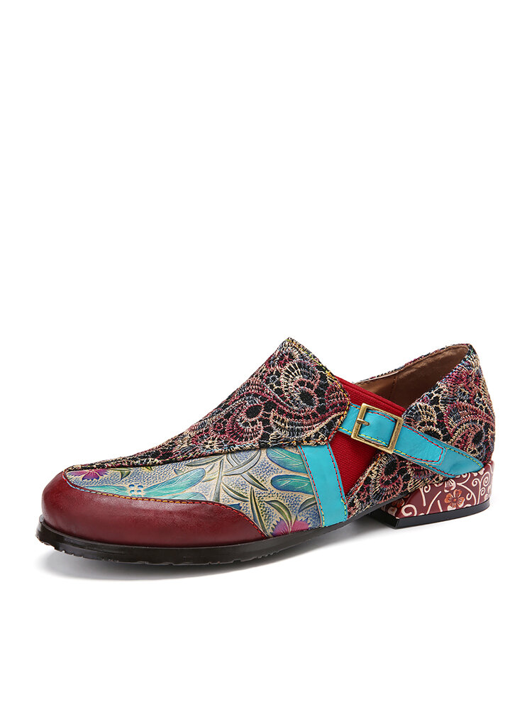 SOCOFY Retro Embroidery Stitching Flower Embossed Pattern Leather Buckle Slip On Flat Shoes