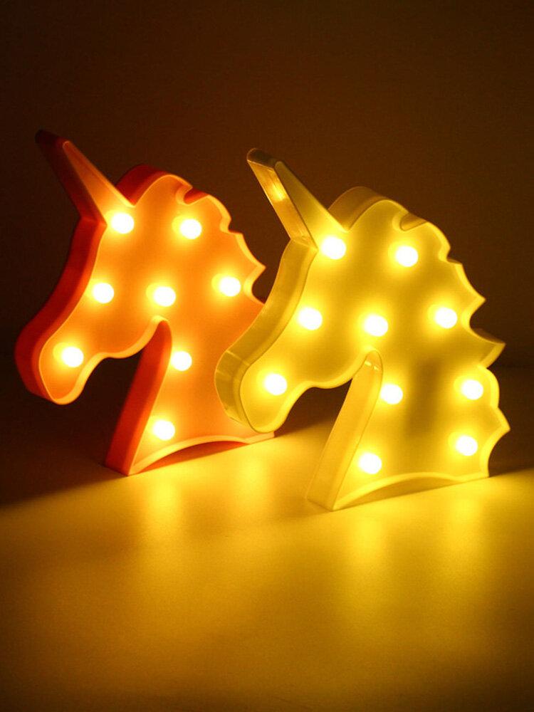 Cute Unicorn LED Night Light Wall Battery Lamp Baby Kids Bedroom Living Room Home Decor