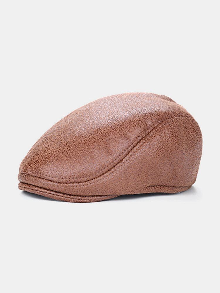 Men Vintage PU Leather Beret Cap  Casual Outdoor Visor Duck Hats Winter Warm Peaked  Caps