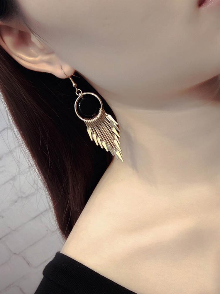 Fashion Ear Drop Earrings Hollow Round Bead Irregular Tassels Pendant Earrings Jewelry for Women