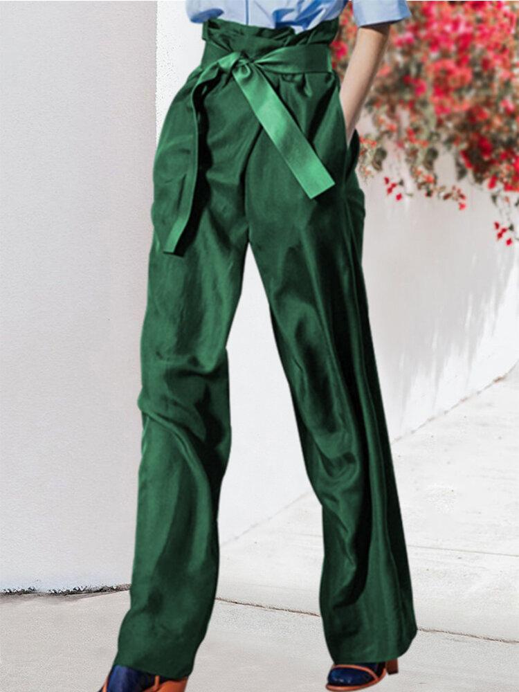 Solid Color Bowknot Belt Pockets Zipper Casual Pants
