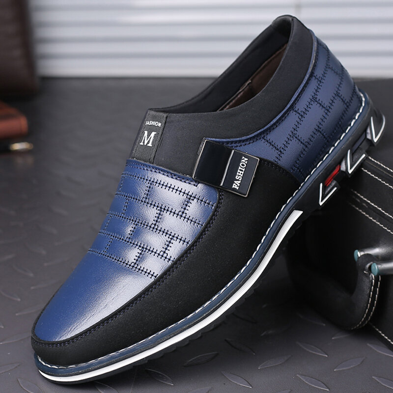 Men Genuine Leather Splicing Non Slip Metal Soft Sole Casual Shoes