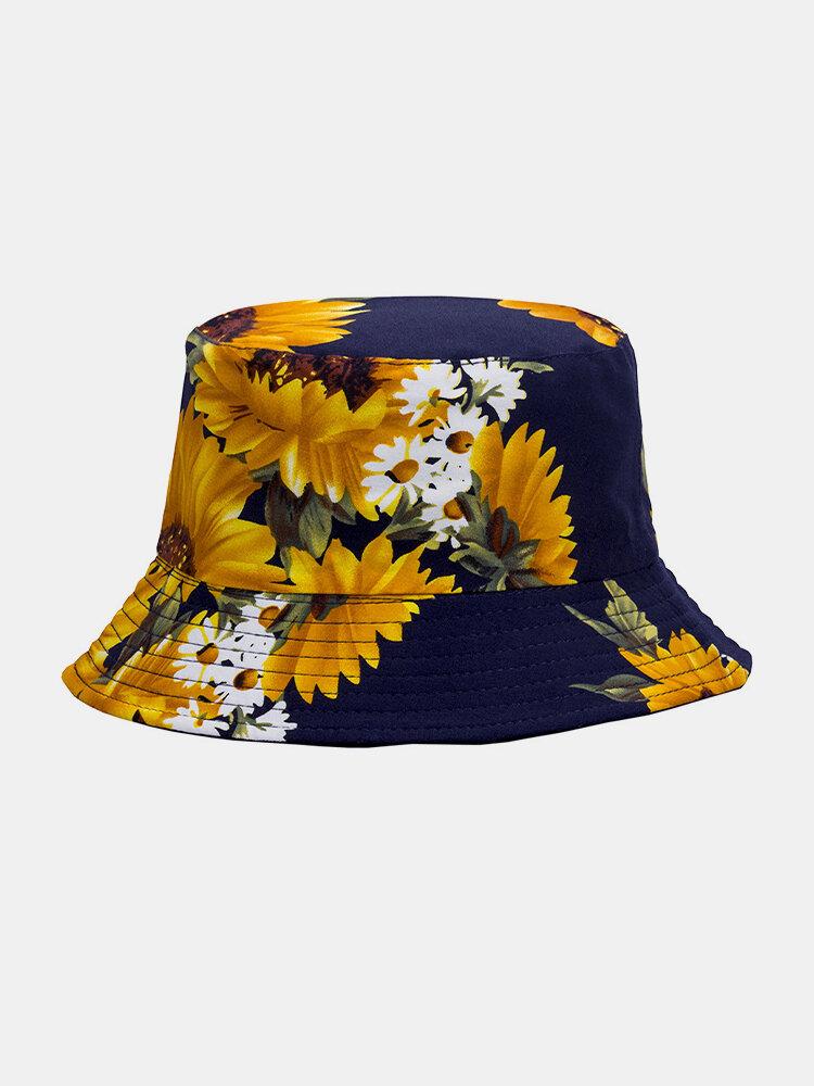 ユニセックス両面コットンひまわりパターンファッション若い日よけバケットハット