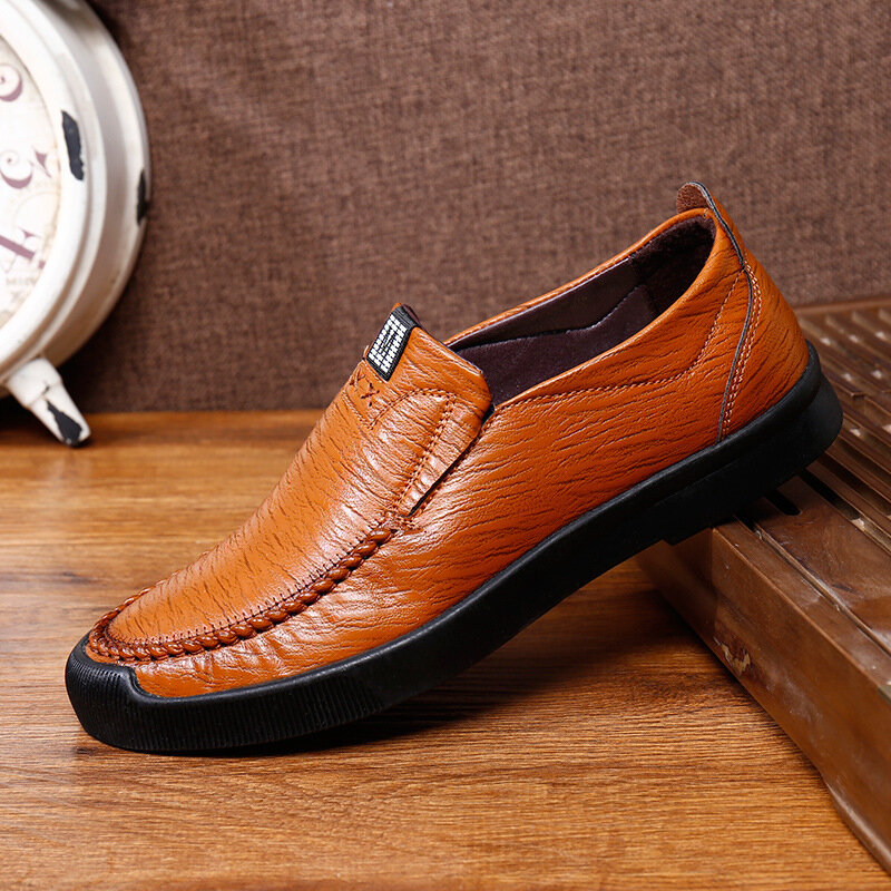 Men Microfiber Hand Stitching Non Slip Soft Sole Casual Driving Shoes
