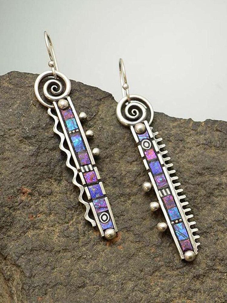 Vintage 925 argent plaqué longue peigne dent abstraite boucles d'oreilles plié arc-en-ciel violet bleu boucles d'oreilles