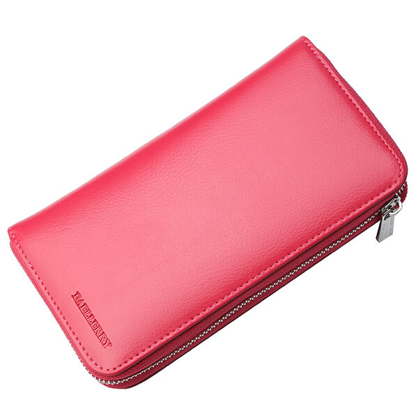 Hot-sale RFID Women Genuine Leather 36 Card Slot Large Capacity Casual Phone Purse Solid Wallet