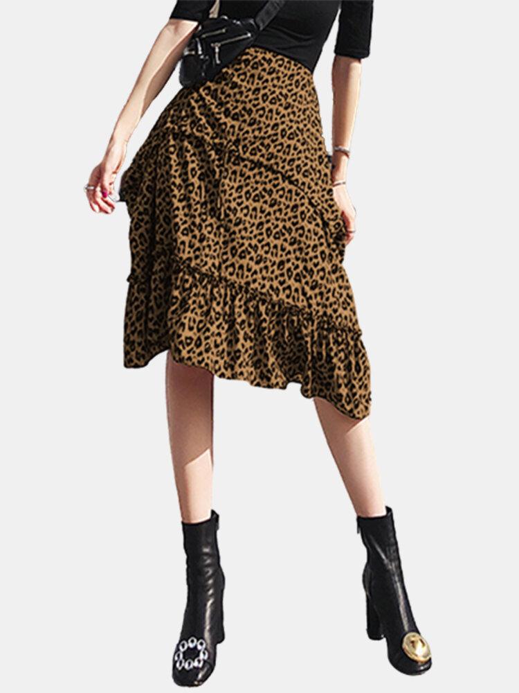 Leopard Print Pleated A-line Zipper Plus Size Skirt