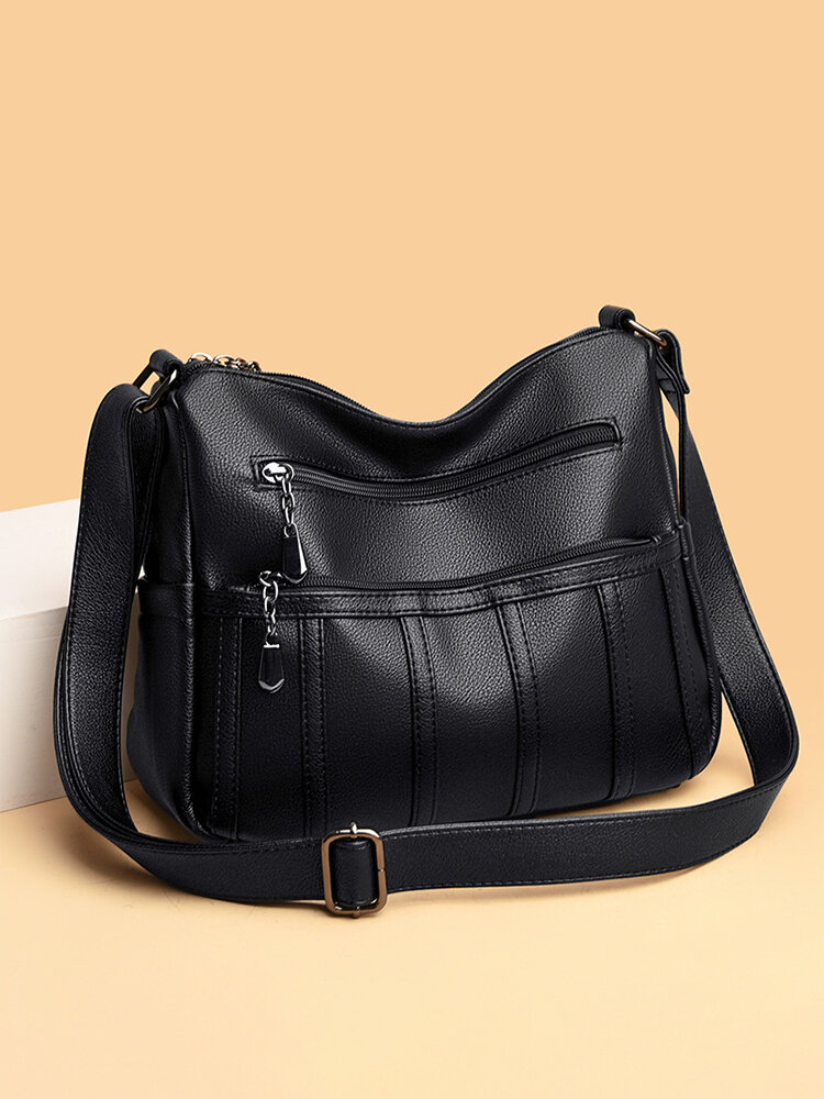 Ladies Simple Practical Soft Cow Leather Crossbody bag