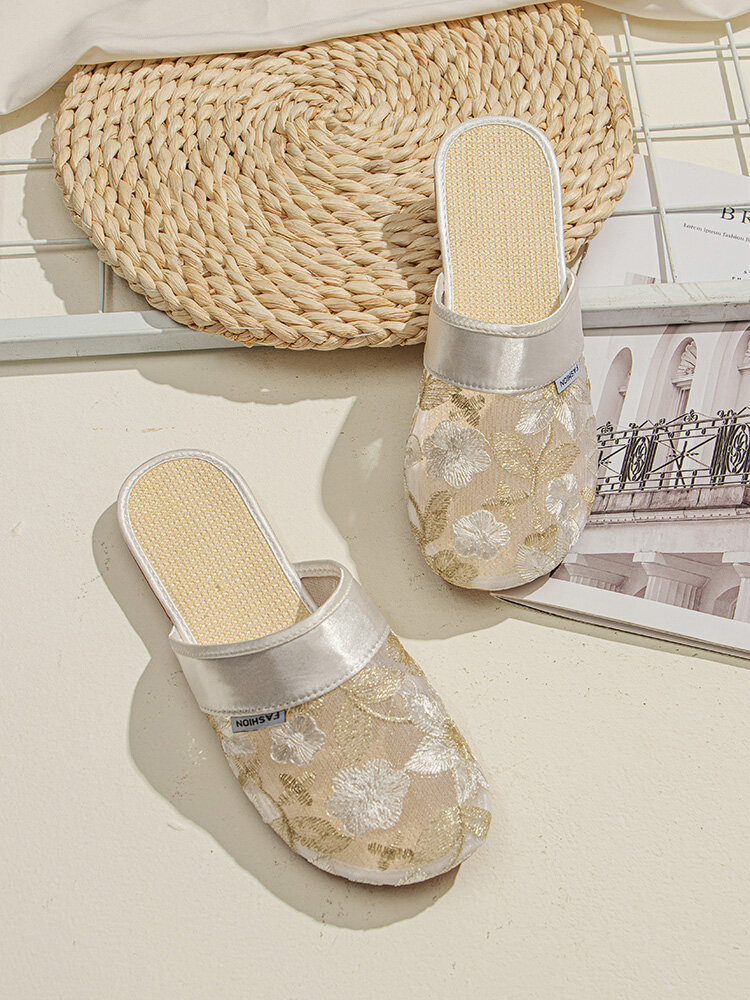 Women Mesh Flowers Embroidered Comfortable Flat Backless Slippers