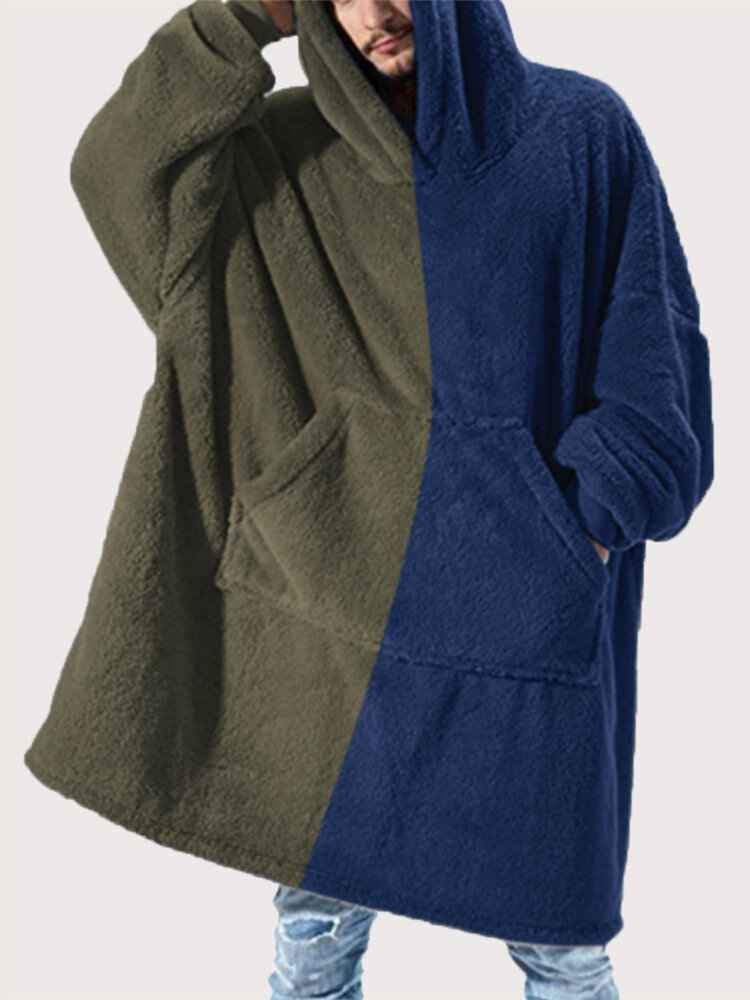 Comfy Contrast Color Flannel Fleece Blanket Hoodies Heated Warm Thick Oversized Hooded Robes With Pockets