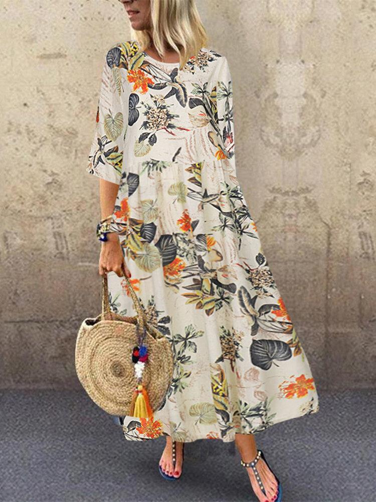 Vintage Blumendruck Hohe Taille Plus Größe Kleid