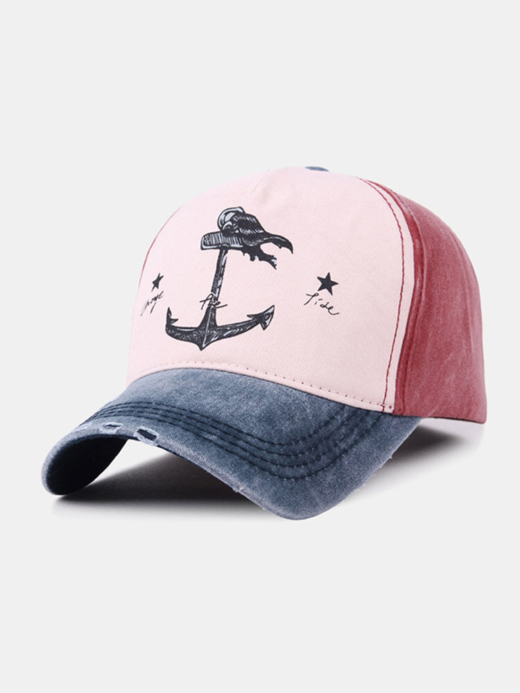 Unisex Distressed Cotton Contrast Color Patchwork Boat Anchor Stars Printed Sunscreen Baseball Caps