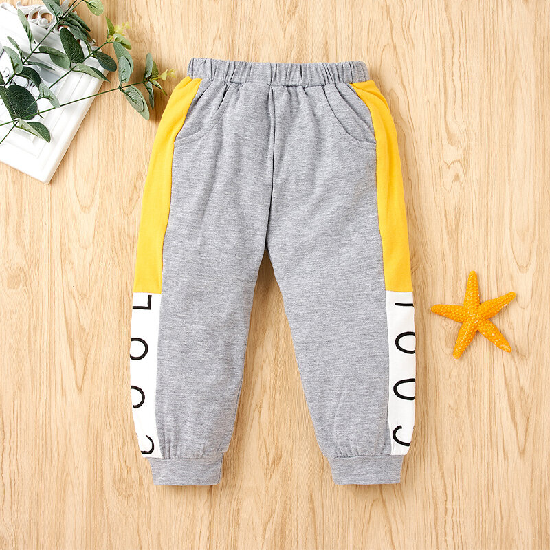 Boy's Letter Print Patchwork Casual Pants For 2-8Y