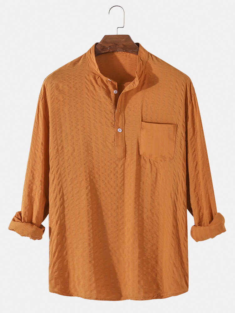 Mens 6 Color Cotton Linen Solid Casual Henley Shirts With Pocket