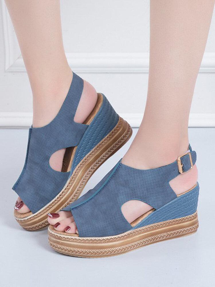 Women Retro Peep Toe Hollow Slingback Buckle Platform Sandals