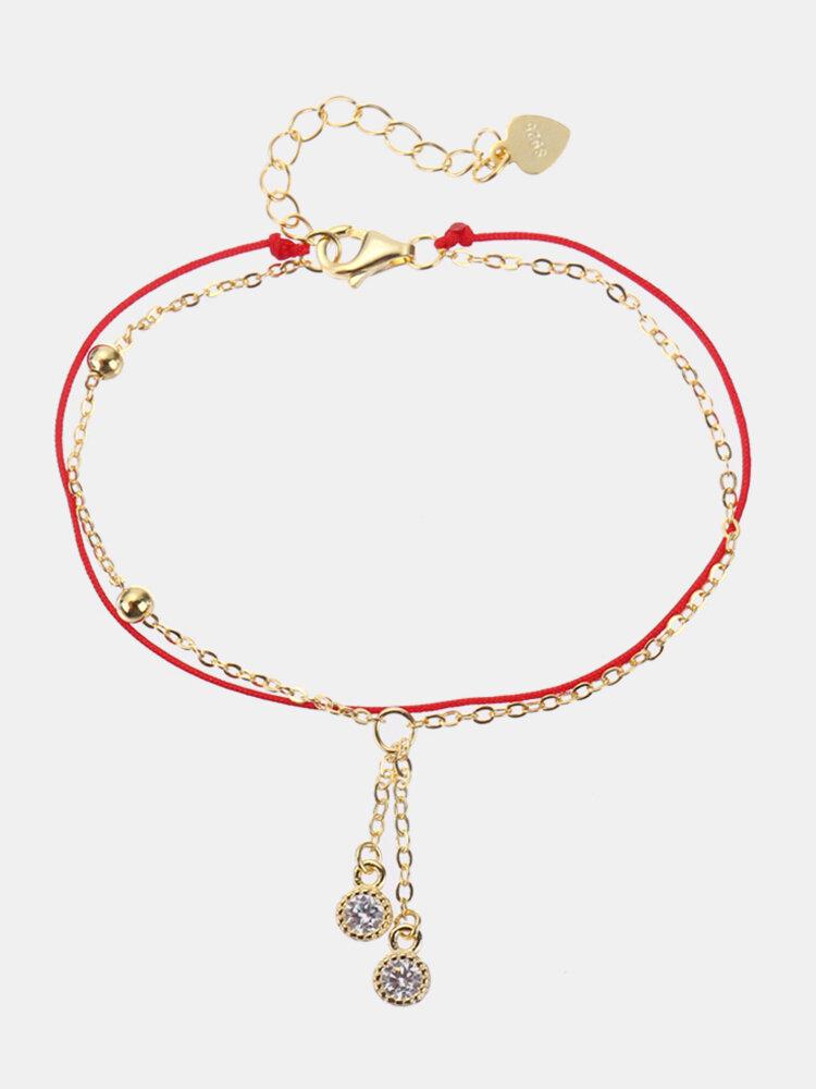 925 Sterling Silver Red Rope Lucky Charm Bracelets Zircon Drop Tassels Chain Bracelets for Women