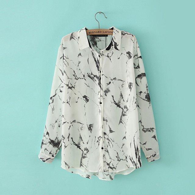Install New European And American Style Irregular Splash Ink Printing Loose Casual Shirt Long Sleeve Bottoming Shirt Female