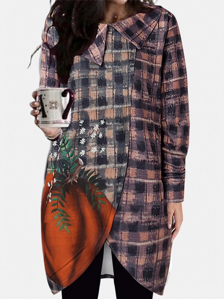 Retro Floral Plaid Print Long Sleeves Casual Blouse For Women