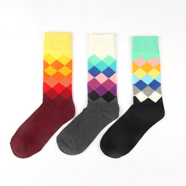 Fashion Argyle Gradient Color Cotton Comfortable Mid-calf Sock For Men