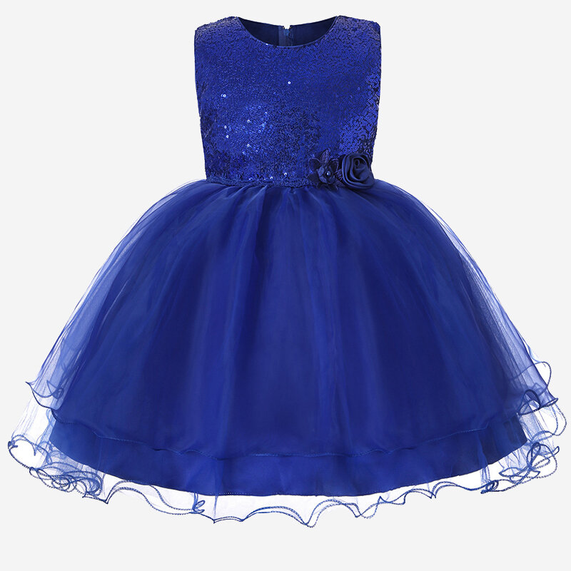 Girl's Sequin Decorated Bowknot Patchwork Tulle Princess Dress for 4-13Y