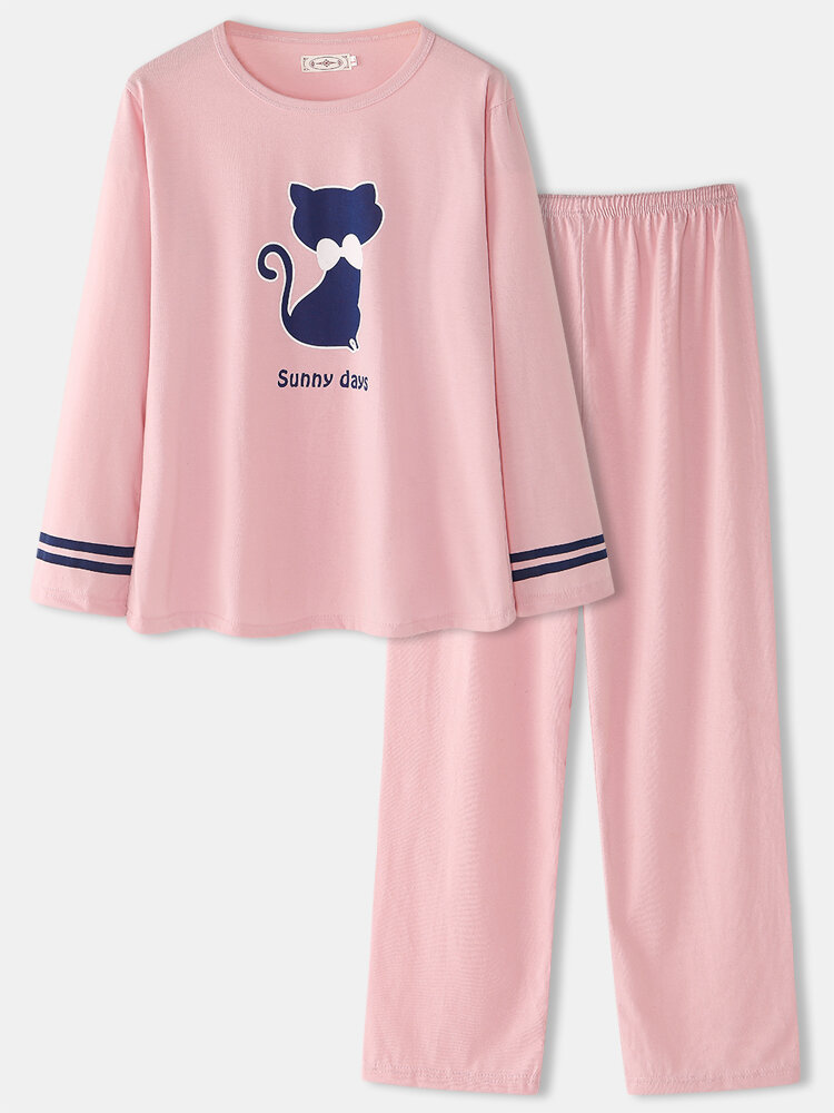 Women Funny Cute Cat Pattern Solid Color O-Neck Two-Piece Loose Pants Home Cotton Pajamas Set