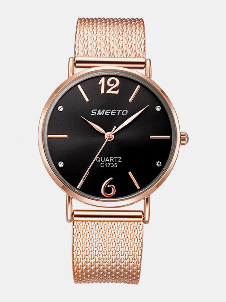 Luxury Women Quartz Minimalist Watches Mesh Band Laser Dial Big Number Rhinstone Waterproof Watches