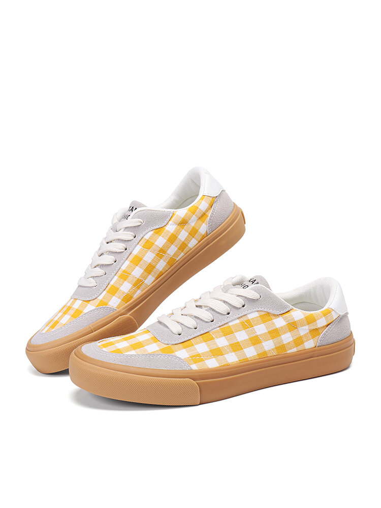 Women Classic Stitching Gingham Comfy Breathable Non Slip Lace Up Canvas Shoes