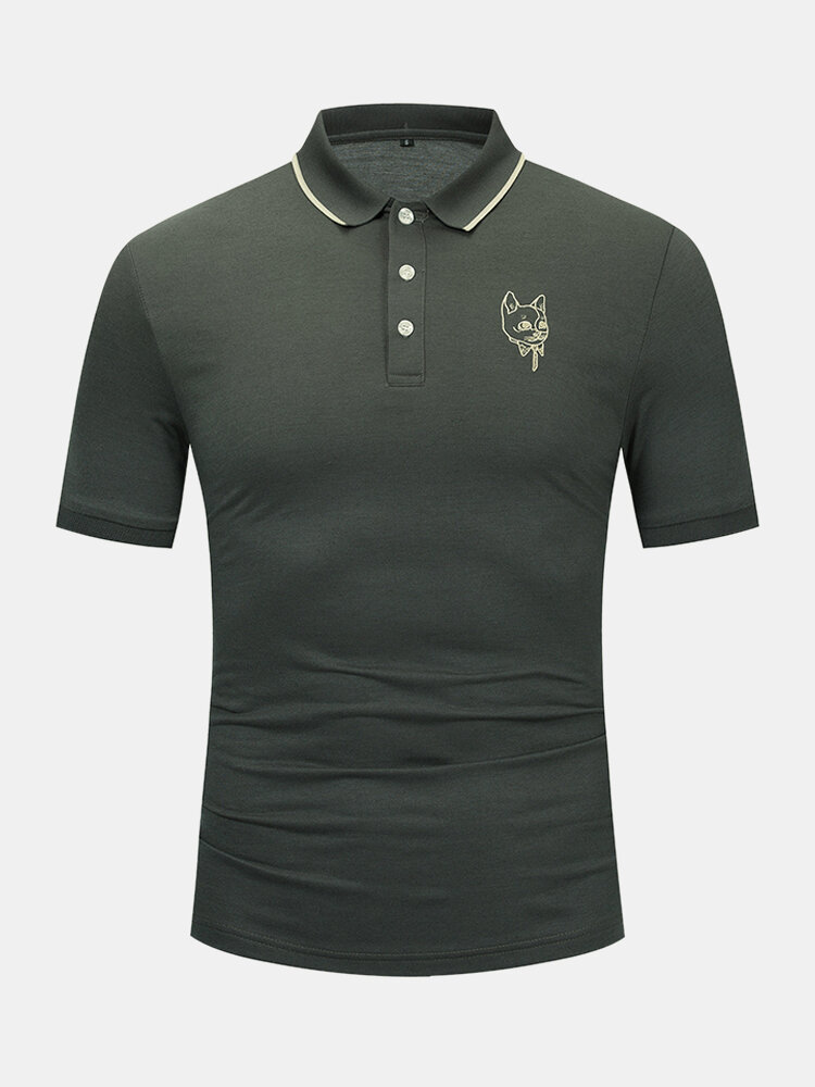 Mens 100% Cotton Cat Head Chest Embroidery Casual Golf Shirts