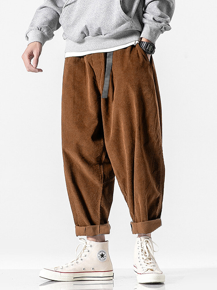 Mens Corduroy Solid Color Loose Pants With Push Buckle