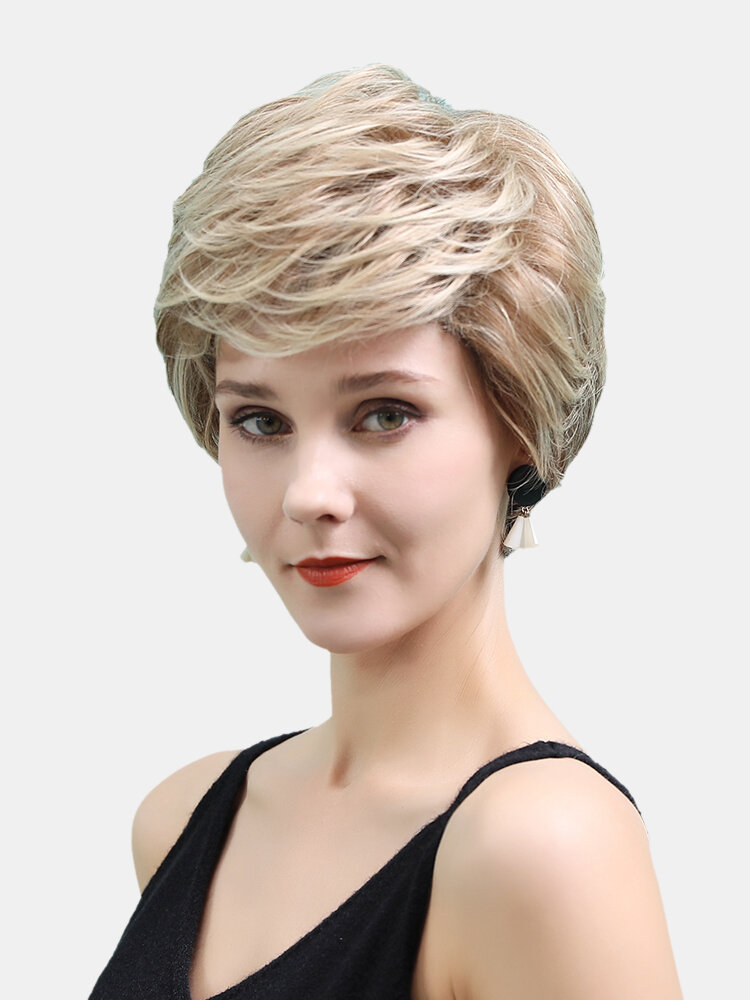10 inch Gold Mixed Color Textured Short Wig Elegant Fluffy Natural Breathable Human Hair Wigs
