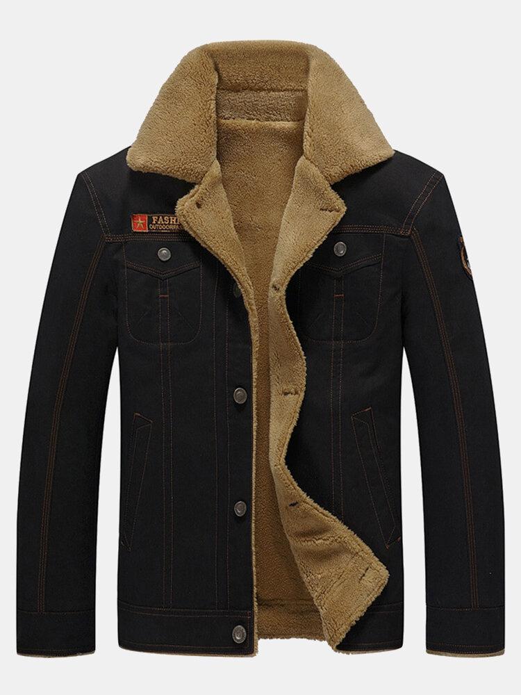 メンズフリース裏地厚手ウォームコットンユーティリティソリッドジャケット