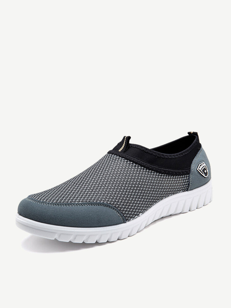 Large Size Men Mesh Soft Slip On Walking Shoes Casual Sneakers
